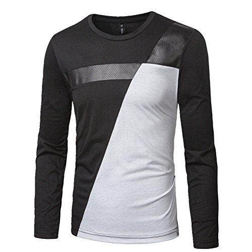 BOMOVO Herren Freizeit Spleiß Langarm T-Shirt Shirt Henley-Slim Fit Schwarz 6cf9dc98a3