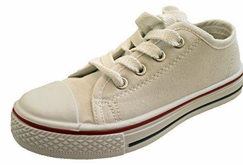 C4-Infants Lace Up Canvas Pump Shoes With White Laces - 30 (UK-12)...
