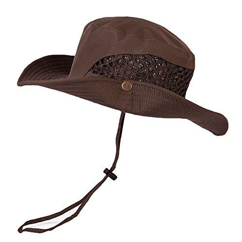 CHIC-CHIC Herren Hut Airsoft bionische Nude Wannen Hüte Militär Fischerhut Tactical Hüte mit Kinnband im Freien (Kaffee) -