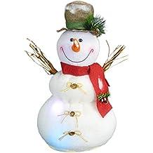 Christmas Concepts® 50cm Iluminar Muñeco de Nieve con Escoba Decoración Navideña con Luces LED de