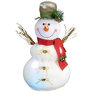 Christmas Concepts® 50cm Iluminar Muñeco de Nieve con Escoba Decoración Navideña con Luces LED de Cambio de Color – Con Pilas