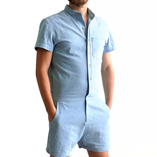 WOCACHI Herren Sommer Jumpsuits Mode Männer reine Farben Kurzschluss Hülsen Tops Shirt Hemd und Shorts Hosen Overalls Ausdehnungs Klage Jumpsuits (XS, (Xs Man Kostüm Iron)
