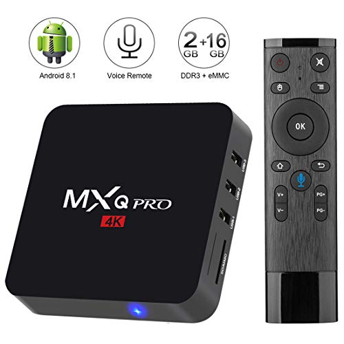 TV Box Android 8.1 4K Boîtier Tv [2GB RAM+16GB ROM] [2018 Dernière Version] SUPERPOW MXQ Pro Android 8.1 Smart TV Contrôle vocal, Android box avec HD/H.265 / 4K / 3D