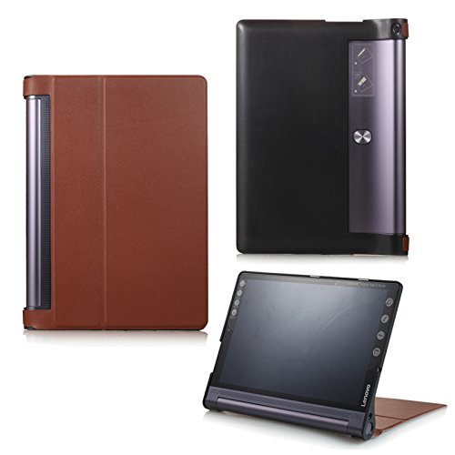 Schutztasche für Lenovo Yoga Tab 3 10 Plus YT-X703F/L und Lenovo Tab 3 10 Pro YT3-X90F aufstellbares Smart Cover Case mit Wake & Sleep Funktion (Braun) + GRATIS Stylus Touch Pen