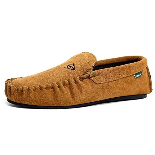 Men's Dunlop LUKE Suede Moccasin Slippers (8 UK, Tan)