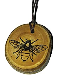 Worker Honey Bee Handmade Wooden Necklace charm