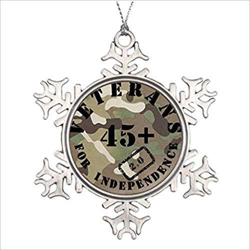 Monsety Huky Veterans for Independence 2.0 Camo Badge Weihnachtsmann Weihnachtsbaum Deko Schneeflocke Ornamente Hochzeit Jahrestag Andenken