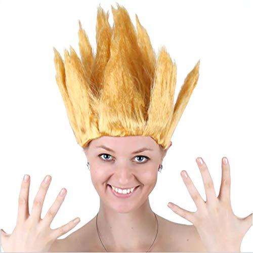 Halloween Kostüm Feuer Fee - Flammen Perücke, Cosplay Kurzes Haar Kostüm Teufel Feuer Dämon Fee Für Kopfbedeckung, Halloween Party, Vier Farben, Eine Größe,Yellow