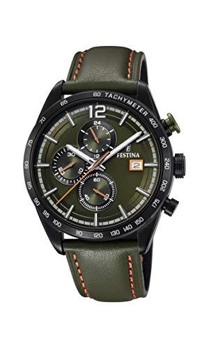 Festina Herren Chronograph Quarz Uhr mit Leder Armband F20344/6 - Uhren Festina