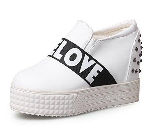 AgooLar Damen Rund Zehe Ziehen Auf Pu Leder Rein Hoher Absatz Pumps Schuhe Weiß