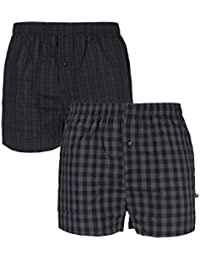 Farah Mens 2 Pack Woven Boxers Shorts in Black/Charcoal in Size Small to XL