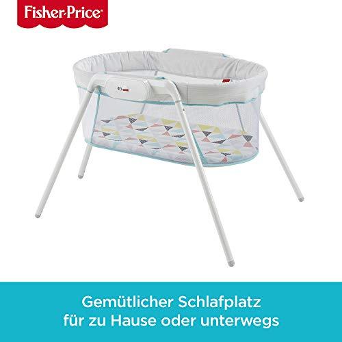 Fisher-Price GBR67 Reisebett zusammenklappbares Beistellbett mit beruhigenden Schwingungen inkl. Reisetasche Babyerstausstattung, ab 0 Monaten