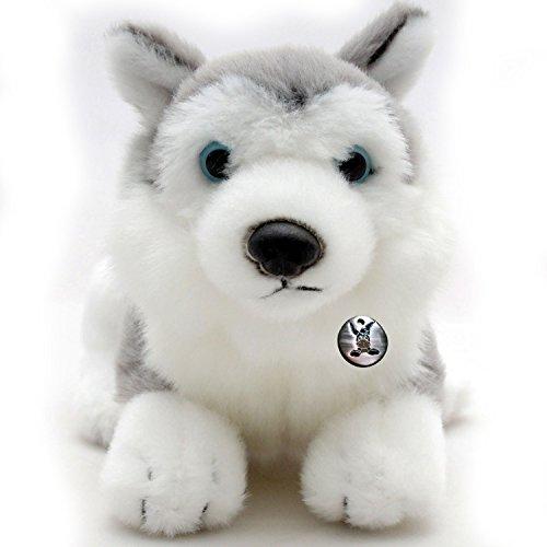 Husky IOWA Schlittenhund liegend grau-weiß mit blauen Augen Plüschtier 22 cm von Kuscheltiere.biz