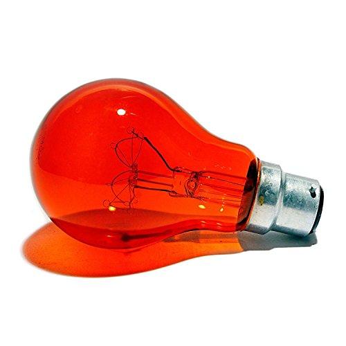Fireglow klassische Glühbirnen, transparent, 60 W, GLS, BC B22, Bayonet-Birne, mit rotem Glüh-Effekt, Flammeneffekt, 180 Lumen, 240 V, 4 Stück -