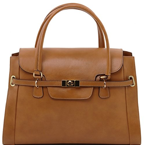 Tuscany Leather TL NeoClassic - Sac à main en cuir avec fermoir twist Rouge Sacs à main en cuir Taupe foncé