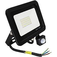 Poop Foco con Sensor Movimiento 30W Proyector LED Exterior Iluminación de Exterior Segura, Impermeable IP65, Lámpara de luz blanca para Jardín, Camino,resistente al agua.