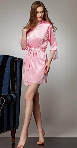 Aivtalk Pyjama Kimono Femme Peignoir Robe de Chambre Bain Dentelle Satin Lingerie Elégant Nuisette Vêtement de nuit Sexy en Soie Imitant Taille Unique 36-44 Noir Bleu Rose Rouge Nude Rose