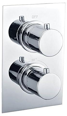 VeeBath Beta Modern Shower Thermostatic Mixer Valve 2 Handles Luxury