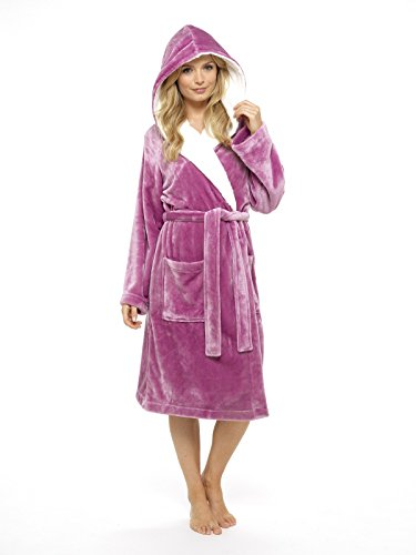 - 41OWrINJ3SL - Luxury Dressing Gown Ladies Super Soft Robe with Fur Lined Hood Plush Bathrobe for Women-Perfect Gift (Pink & Purple)