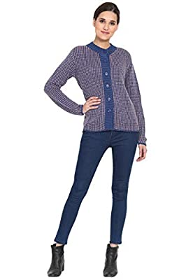 BOXYMOXY Stylish Blue Purple Mix Sweater Cardigan with Buttons for Girls & Women