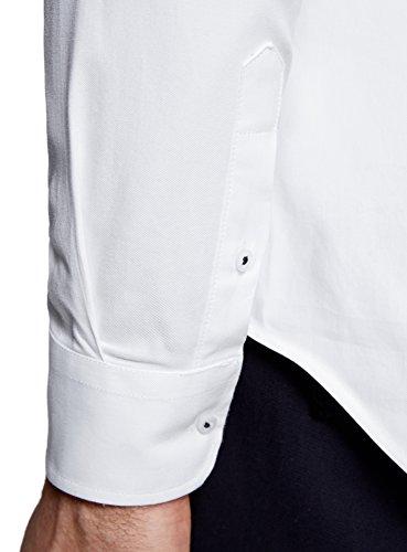 oodji Ultra Homme Chemise à Manches Longues Coupe Cintrée Blanc (1000N)