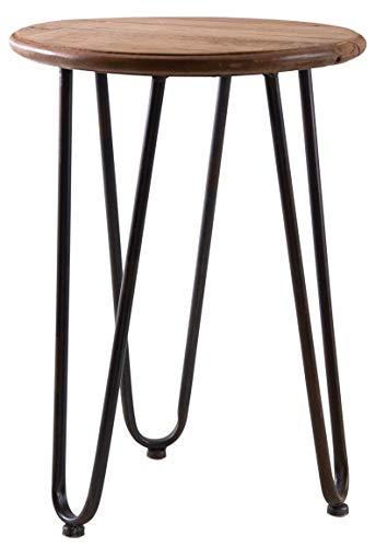 AUBRY GASPARD Table Ronde en Bois et métal Filae
