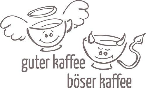 o Küche Sprüche Engel Teufel Tassen - Küchentattoo Guter Kaffee - Böser Kaffee - Wandtattoo für Küche Lustiges Motiv / 94x57cm / 090 Silbergrau ()