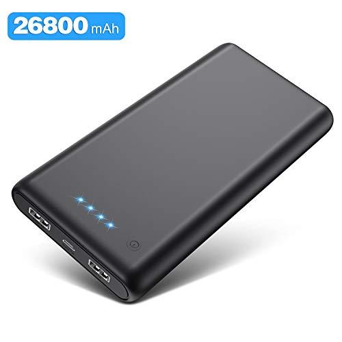 Kilponen Batterie Externe Grosse Capacité 26800mAh, Power Bank Charge Rapide avec 2 Ports USB Sortie Max 2.1A, Chargeur Batterie Portable Affichage 4 LED Ultra-Compact pour Téléphone Portable,Tablette