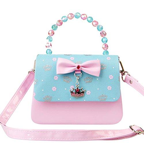 Happy Cherry Klein Mädchen Tasche Prinzessin Tasche Kinder Umhängetasche PU Leder Handtasche Krone Handtasche Große Größe 19.5 x 7.5 x 14.5CM - Blau Blau 2