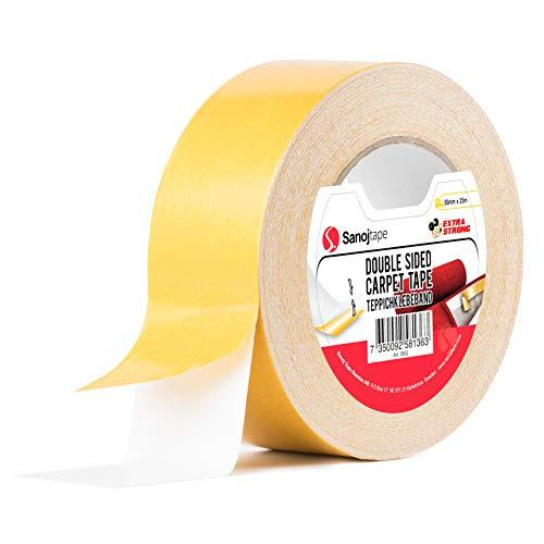 Original Teppichband 50mm x 25m | Doppelseitiges Verlegeband Klebeband für Teppiche, Matten, Pads | Extra starkes Teppichband für den Innenbereich | Hartholz, Fliesen, Laminat von Sanojtape