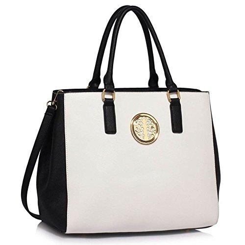 LeahWard® Damen nett Schultertaschen Handtaschen Damen Essener Tragetasche 182 (Schwarz/Weiß Tote Handtasche) (Weiß Chloe Handtasche)