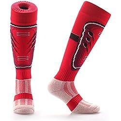 Calcetines hasta la rodilla unisex, para niños y adultos, con protector para canilla, diseños originales y divertidos, para deportes como fútbol y rugby, de la marca Samson Hosiery®, color rosso, tamaño M