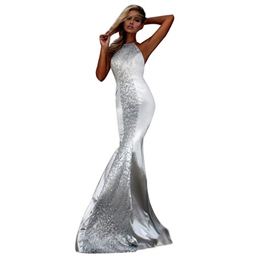 Elegante Dame Halter Mermaid Sequins Cross Bandage Rückenfreies Langes, figurbetontes Kleid Abend Prom Cocktail Club Party Kleider,Silver,M