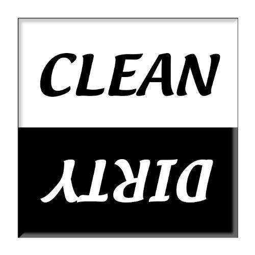 Reinigung Dirty Spülmaschine Magnet Schild Indikator–Schwarz und Weiß Skript Design