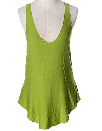 Sommer Strandweste Mode Reizvolle V-Kragen West Schlinge Top ärmellos Oberseiten Einfarbig Jumper Freizeit Hemdbluse Langshirt Grün