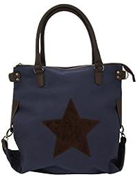 """'SLIN GBAG """"Jotta XL Canvas Shopper///–Bandolera Bolsa de la compra con estrella decorativa./Selección de Colores"""