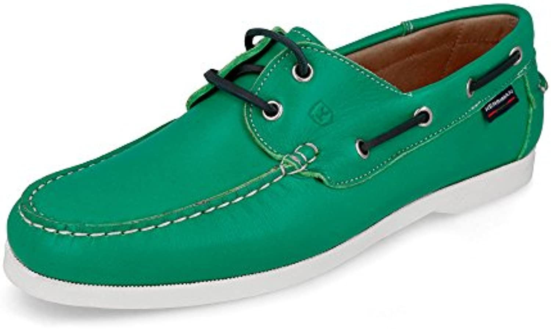 KERRIMAN - Náutico Hombre de Piel Color Verde Menta - 42, Verde