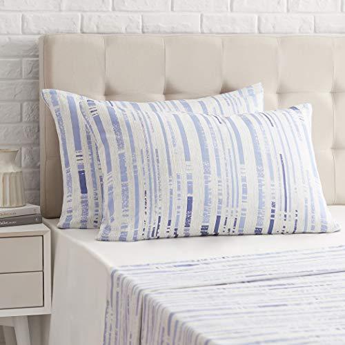 AmazonBasics - Funda de almohada de satén - 50 x 80 cm x 2, Azul a rayas texturizado