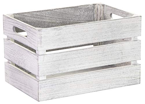 LAUBLUST Vintage Holzkiste mit Griffen - ca. 31 x 21 x 19 cm, Weiß, FSC - Aufbewahrungskiste | Möbel-Kiste | Dekobox