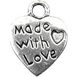 EJY 100pcs Antique Silver Plated Made with Love Heart Charm 10mm