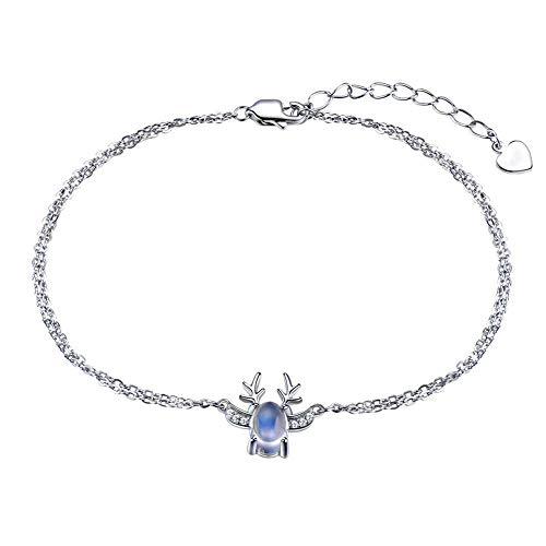 LXIANGP Frauen Armband 925 Silber Mondstein Elch Armband einfache Persönlichkeit Student Sen sendet Freundin Geschenke, Geschenk-Box (Manschette Mondstein Armband)