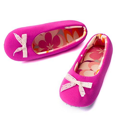 TWINS Fashion - « Rio » - schöne & süße Damen Pantoffeln - leichte Baumwolle Ballerinas - gemütliche & rutschfeste Hausschuhe in diversen Farben und Ausführungen (36/37, Pink)