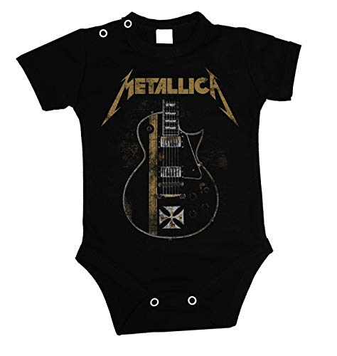 Baby Rocker Kleidung (Lulchev Design Metallica Guitar Hetfield Iron Cross Baby Body Prime Quality Kurzarm (Schwarz, 74))