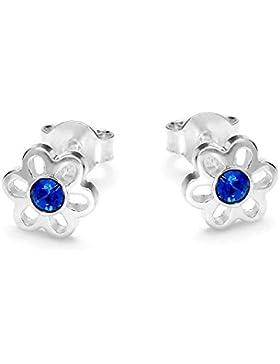 butterfly Mädchen Silber Ohrstecker Silber 925 blau Swarovski Elements original Blume Satin-Beutel, Geburtstag...