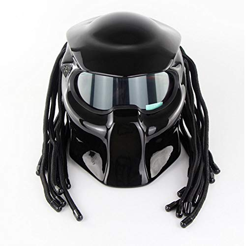 LICIDI Casque Off-Road, Emerald Warrior Scorpion Personnalité Scorpion Masque De Moto, Predator Casque Complet avec Lentille Ultra Forte Ultraviolet,Brightblack,L