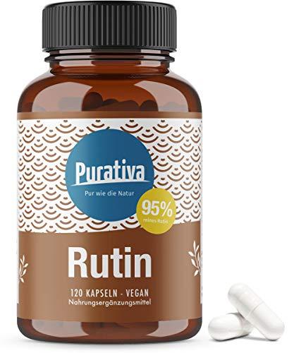 Rutin hochdosiert - 120 Kapseln - 95% Rutin - 550mg Sophora japonica L.- Schnurbaum - Top Dosierung - vegan - hergestellt und kontrolliert in Deutschand