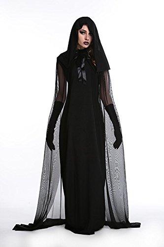 für Karneval Halloween Zombie Braut Hexe Weihnachten Party Kleider Schwarz M (Braut Kostüm Hexe)