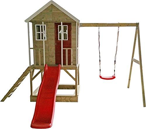 Wendi Toys M10 Nordic Adventure House & Plattform & Rutsche |Kinder im Garten Haus auf Plattform mit Schaukeln | großes Spielhaus Gartenhaus für Kinder mit Rutsche, Veranda, Sandkasten