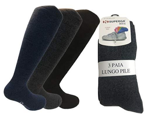 3 paia calze calzini lunghi superga in pile - termiche sci montagna pesanti (41-45)