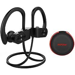Auriculares Bluetooth Deporte, Mpow【Impermeables IPX7】Auriculares Bluetooth 4.1 In-ear Cascos Inalámbricos , Auricular Inalámbrico Running Deporte Correr con Micrófono, Cancelación de Ruido CVC 6.0 para iPhone 8 / 8Plus, X, 7, 7 Plus, 6s, 6s Plus, 6, 6 Plus, Samsung, Huawei, Sony ecc (Negro con EVA Bolsa)